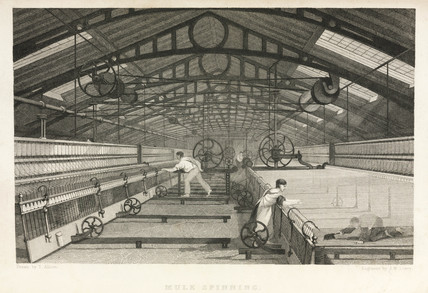 Mule spinning in a cotton mill, 1835.