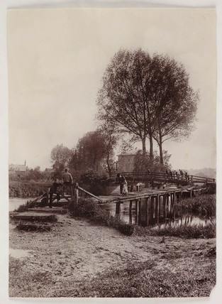 Children on a bridge, c 1890.
