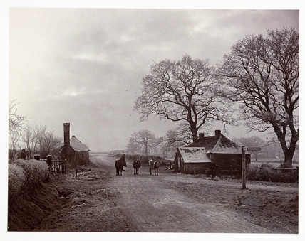 Village street on a frosty day, c 1890.