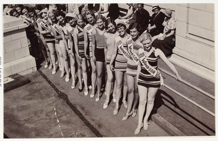 Snapshot photograph of a beauty contest, c 1930.