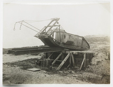 Mark I tank crossing a trench, c 1917.