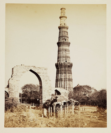 'Delhi: The Kutub Minar, From The West', c 1865.