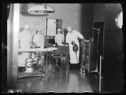 Operating theatre, London, 1932.