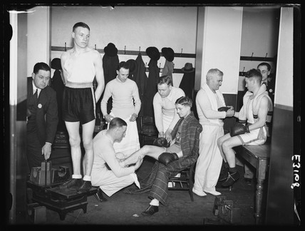 Amateur boxers prepare in the changing room, Royal Albert Hall ...