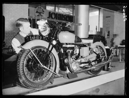Man polishing a Rudge 500cc Special motorcycle, 1937.