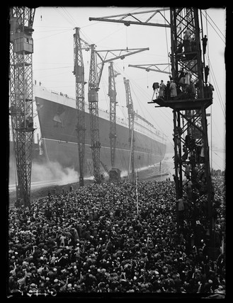 The launching of RMS Queen Elizabeth at Clydesbank, 27 Septmeber 1938.