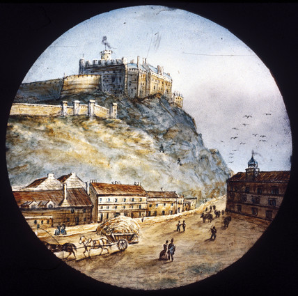Castle on a hill, mid 19th century.