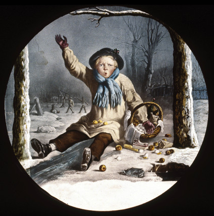 Child with a basket of apples in the snow, mid 19th century.