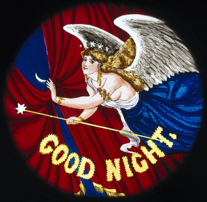 'Good Night' angel, magic lantern slide, 19th century.