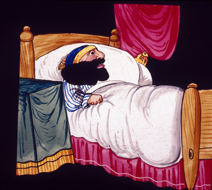 Man with a large beard in bed, mid 19th century.