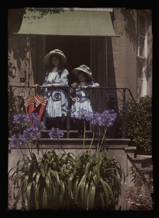 Two girls on a balcony, 1908.