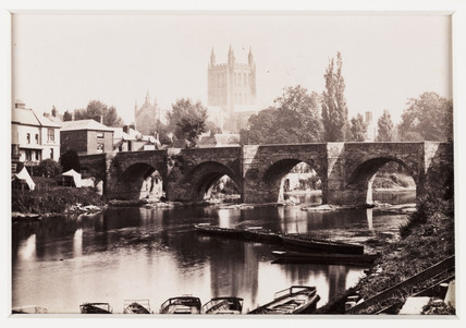 'Hereford, the Wye Bridge and Cathedral', c 1880.