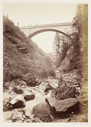 Alpine bridge, c 1865.