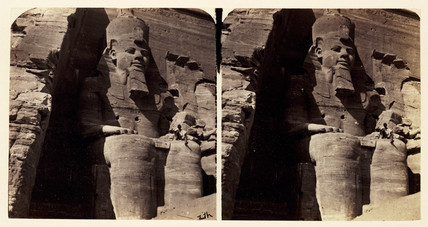 'The Colossal Statue of Rameses at Abou Simbel', 1859.