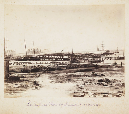The docks at Colon after a fire, 1885.