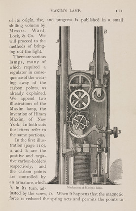 Mechanism of Maxim's light, 1880s.