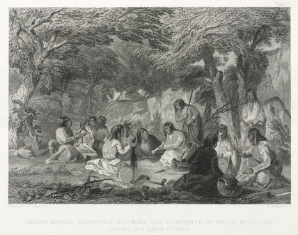 'Indian Medas Showing the Contents of Their Sacks to Each Other', 1855.