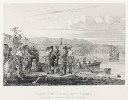 'Interview of Hendrick Hudson with the Indians', North America, 17th century.
