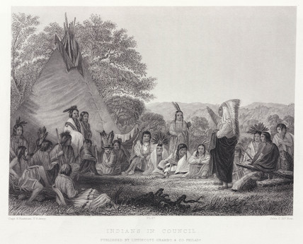 'Indians in Council', North America, 1847.