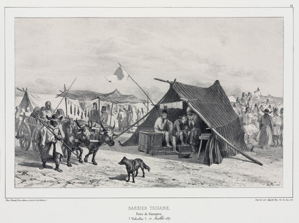 Gypsy barber at a fair in Romania, 11 July 1837.
