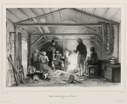 Interior of a cabin, Iceland, 1835-1836.