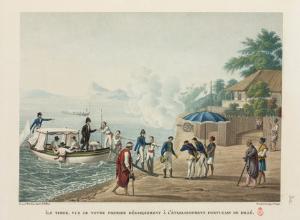 French explorers at the Portuguese settlement, Dili, Timor, 1817-1820.