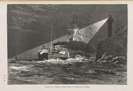 'Vessel towed into a harbour by night', 1891.
