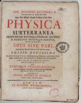 Title page to 'Physica Subterranea', 1738.