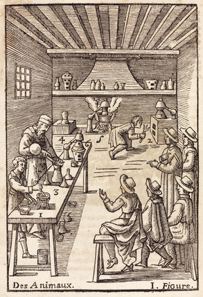 Annibal Barlet giving a demonstration to students on his chemical course, 1657.