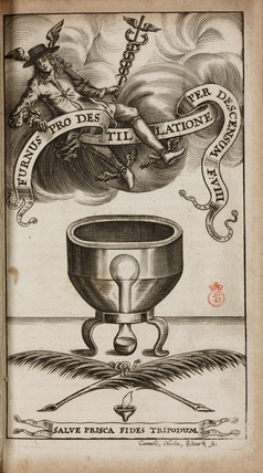 An alchemical distillation furnace, 1689.