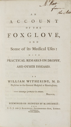 Title page from Withering's 'An account of the foxglove', 1785.