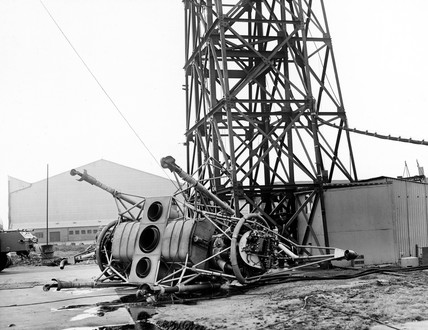 'Flying Bedstead' after its accident, Hucknall, Nottinghamshire, 1957.