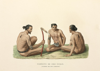 Men of the Caroline Islands, (now Micronesia), 1822-1825.