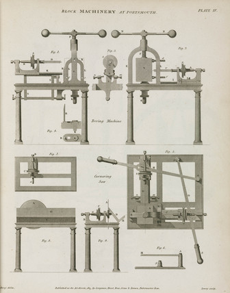 Brunel's boring machine and cornering saw, 1820.