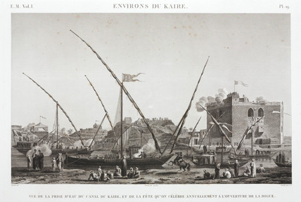 Celebrating the annual opening of the dyke on the Cairo Canal, Egypt, c 1798.