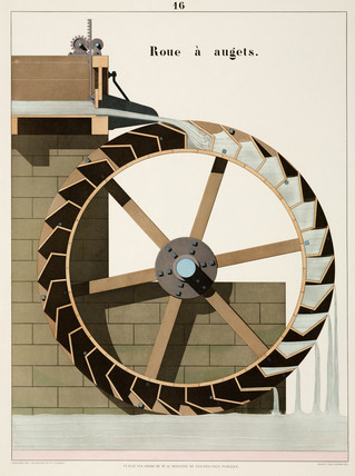 Trough waterwheel, 1856.
