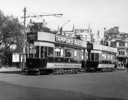 Brighton Corporation Tramways trams, Brighton, c 1920s.