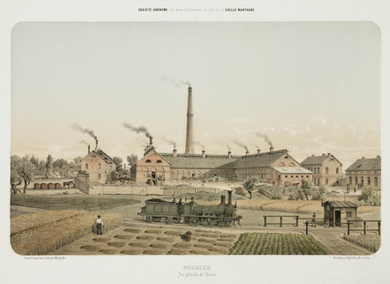 Steam train and zinc factory, Borbeck, Germany, 1855.