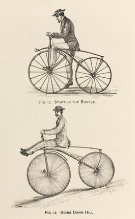 'Starting the Bicycle', and 'Going Down Hill', 1869.
