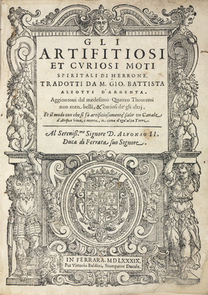 Title page to an Italian edition of Hero of Alexandria's 'Pneumatics', 1589.