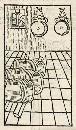 Barrels and hanging bottles containing alcohol, 1497.