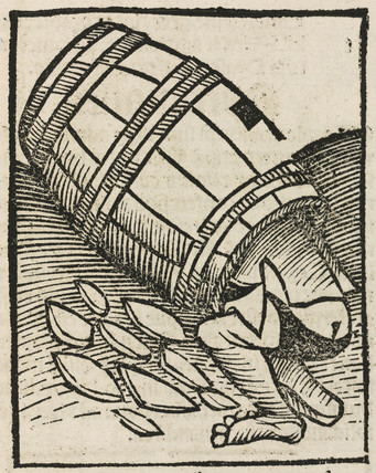 Man in a barrel, 1497.