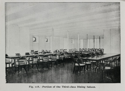 Third class dining saloon on the 'Olympic' White Star liner, 1911.