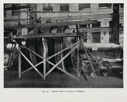 'Turbine Rotor in Process of Blading' c 1911.
