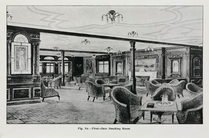 First class smoking room on the 'Olympic' White Star liner, c 1911.