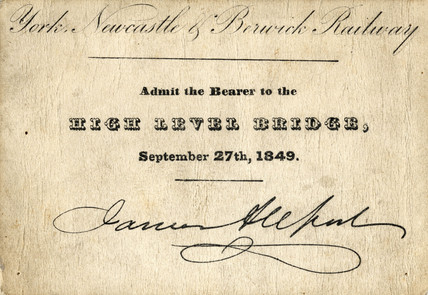 York, Newcastle and Berwick Railway ticket, 27 September 1849.