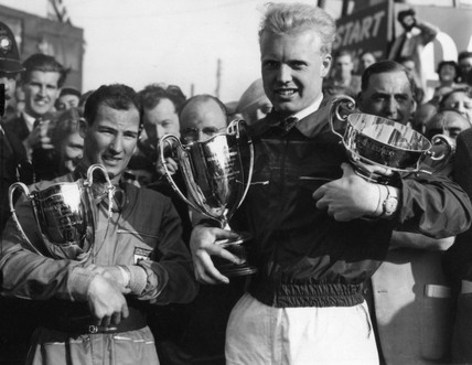 Mike Hawthorn and Stirling Moss with trophies, Silverstone, 11 May 1953.