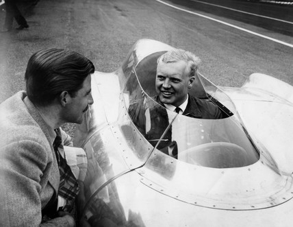 Mike Hawthorn in the cockpit of a Lotus 'Climax', 12 April 1956.