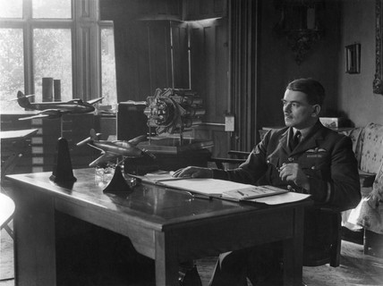 Frank Whittle in his study, Brownsover Hall near Rugby, 1946.