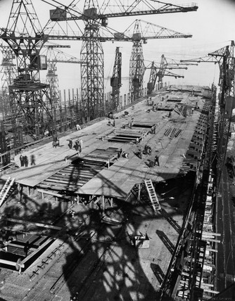 Hull of TS 'Queen Mary' under construction showing upper deck,  1934.